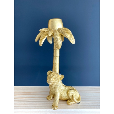 Candle holder Tiger palm gold