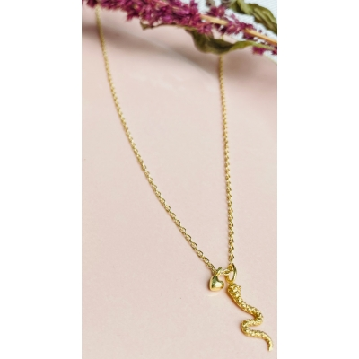 MujaJuma collier tiny heart met snake